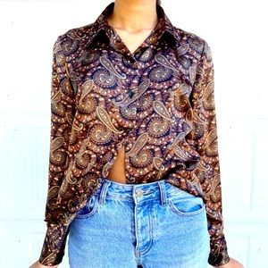 1990s does 70s Patterned Silk Button Up Blouse